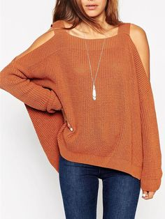 Light Brown Cold Shoulder Long Sleeve Side Split Jumper | #Choies $28