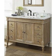 Beau Fairmont Designs 142 V48 Rustic Chic 48 Inch Vanity In Weathered Oak