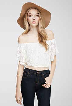 Forever21 Floral Lace Off-the-Shoulder Top Peach Large Found on my new favorite app Dote Shopping #DoteApp #Shopping
