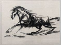 Charcoal Drawing of a Warrior Horse Figure in Profile. $75.00, via Etsy.