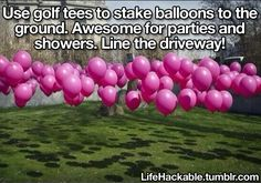Years Eve Party Hacks Use golf tees to stake balloons to the ground. Awesome DIY idea for party, wedding, or shower.Use golf tees to stake balloons to the ground. Awesome DIY idea for party, wedding, or shower. I Party, Party Gifts, Party Time, Party Wedding, Golf Party, Wedding Reception, Croquet Party, Lawn Party, Wedding Hacks