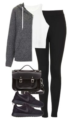 """Untitled #4946"" by eleanorsclosettt ❤ liked on Polyvore featuring Topshop, The Cambridge Satchel Company and NIKE"