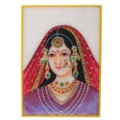 Painting Of India Embossed Miniature Painting On Marble Plate Of A Maharani and The Indian Jewelry: Amazon.co.uk: Kitchen & Home