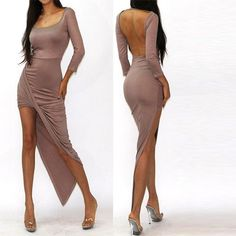 Sexy Backless Long Sleeve Asymmetry Dress
