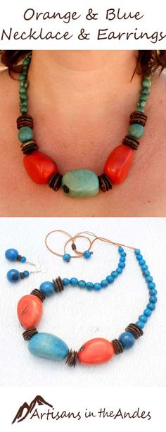 Are you ready for something different? This bold and exciting necklace is a one-of-a-kind treasure. The chunky tagua beads are in vibrant orange counterbalanced by a delicate blue.