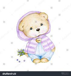 Teddy bear with blueberry Baby Animal Drawings, Cute Bear Drawings, Bird Drawings, Cartoon Drawings, Tatty Teddy, Cute Animals Images, Baby Painting, Bear Cartoon, Cute Teddy Bears