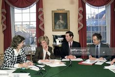 Princess Diana And Prince Charles Sitting Round The Dining Room Table At Home In Kensington Palace For A Planning Meeting To Co-ordinate Diary Arrangements. On The Left Of The Picture Is Diana's Lady-in-waiting, Anne Beckwith-smith, And On The Right Is Charles's Private Secretary, Sir John Riddell.