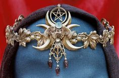 Owl Moon Crown ....This crown features moonstone and garnets, and is available with or without a pentacle.