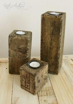 Pallet Blocks - Tealight Holders - Set of Three Kate Arthur