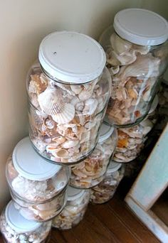 Glass Jars for Organizing & Displaying Shells, Seaglass, Pebbles and more - Coastal Decor Ideas Interior Design DIY Shopping Bottles And Jars, Glass Jars, Sea Glass, Mason Jars, Glass Containers, Seashell Crafts, Beach Crafts, Seashell Projects, Seashell Display