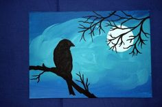 Crow in moonlight.... ahhhhh <3  http://www.etsy.com/listing/85461520/5x7-acrylic-painting-moonlit-bird