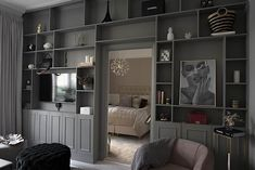 Gray Interior, Interior Design Living Room, Living Room Decor, Built In Around Fireplace, One Room Apartment, Cottage Floor Plans, Bookshelves Built In, Bookcases, Home Decor Inspiration