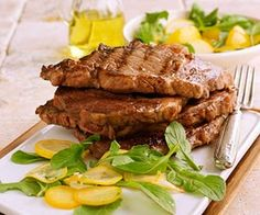 steak with squash and arugula