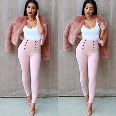 Fashion High Quality European Style High Waist With Button Women Suede Pants Women Autumn Winter Leggings Bodycon Skinny Pants