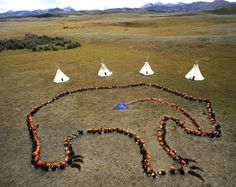 """The Sky Grizzly. Badger Two Medicine area, Blackfeet Reservation, 400 Blackfeet from age 3 to 80 gather in the shape of a grizzly bear to declare the sacredness of their land & send a message to the government that they do not want this land to be harmed in any manner."""