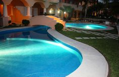 Quinta Maya - Swimming Pool At Night - Riviera Maya Haciendas, Puerto Aventuras, Mexico