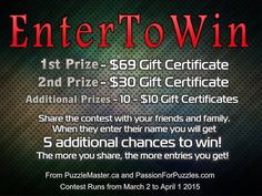 Win $199 in prizes when you enter your name and email at passionforpuzzles.com.  {URL}
