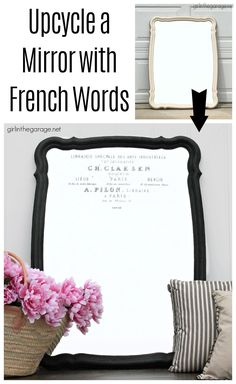 Learn how to upcycle a vintage mirror into gorgeous French style decor. Easy and thrifty DIY decor idea by Girl in the Garage. Chalk Paint Mirror, Black Chalk Paint, Mirror Painting, Diy Painting, Annie Sloan Chalk Paint Projects, French Style Decor, Upcycled Crafts, Repurposed, Mirror Makeover