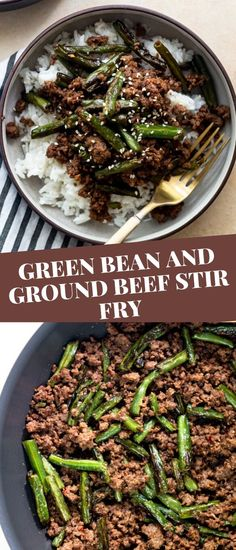 Green Bean and Ground Beef Stir fry is an easy ground beef recipe perfect for busy weeknights.  Serve over rice for a quick weeknight meal packed with flavor! Pork Recipes For Dinner, Italian Dinner Recipes, Instant Pot Dinner Recipes, Ground Beef Recipes Easy, Easy Healthy Recipes, Yummy Recipes, Yummy Food, Ground Beef Stir Fry, Quick Weeknight Meals