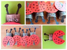 bir dünya zeynep . . .: rulolardan uğur böceği yaptık... (ladybug)