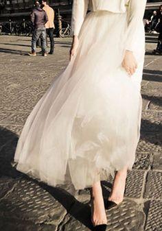 White Pleated Grenadine Cute Tull Skirt High Waisted Sweet Party Fashion Long Tutu Skirt