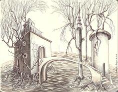 Juan Díaz Almagro. La casa del árbol en el agua. Grafito y rotuladores