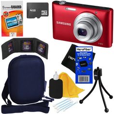 """Samsung ST72 16.2MP Digital Camera with 5x Optical Zoom and 3.0"""" LCD Screen (Red) + 7pc Bundle 4GB Accessory Kit... - Listing price: $149.99 Now: $89.95"""