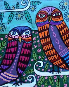 Colourful Owls. Trendy couple who appear not to like us interrupting them and being nosy - they're certainly displaying disapproving looks, aren't they? Or is that their usual look - I'll have to look at more carefully. ;) Mo
