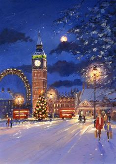 Snowy capital London scene with the lights of Big Ben and the London Eye illuminating the background. London Illustration, Illustration Noel, Winter Illustration, Christmas Illustration, London Christmas, Christmas Scenes, Cozy Christmas, London Painting, Cute Christmas Wallpaper