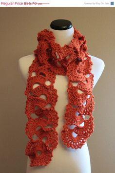 Chunky Crochet Scarf in Pumpkin Orange