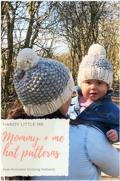 1c35ce3e37171 Mommy And Me Beanies. Hat PatternsKnitting Patterns FreeFree KnittingEasy  Knit ...