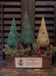 Prim Handmade Christmas and/or Winter Trees Inside of Vintage Wood Cheese Box