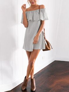 Grey Ruffle Off The Shoulder Dress