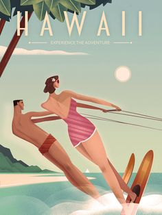 Hawaii Vintage Travel Poster, Martin Wickstrom