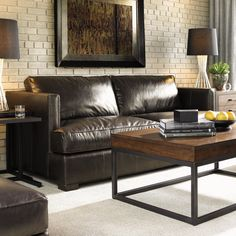11 South Quick Ship Loose Back Leather Fillmore Stationary Sofa By Lexington Home Brands