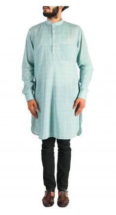 Stay cool this summer wedding season with this light blue, cotton, printed kurta for men. Shop now! Nehru Jacket For Men, Nehru Jackets, Wedding Store, Wedding Wear, Mens Ethnic Wear, Green Print, Men's Collection, Mint Green, Printed Cotton