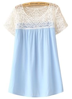 Trying to decide whether thish is too twee -- Light Blue Contrast Lace Top - Sheinside.com