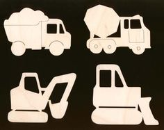 Construction Equipment Shapes 4 Pieces Unfinished by TexasArtCraft, $7.99