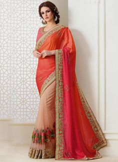 Stunning indian designer ethnic traditional saree. Shop this awesome embroidered and patch border work traditional  saree for bridal and wedding.