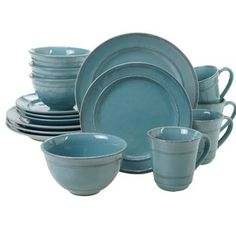 AmazonSmile: Thomson Pottery 16-pc. Cape Cod Set AQUA BLUE ...