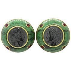 Trianon Intaglio Ruby Gold Earrings