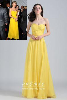 158ebbf0402 Strapless Sweetheart Yellow Chiffon A-line Long Celebrity Prom Dress