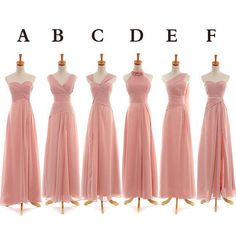 Long Blush Chiffon Bridesmaid Dresses Prom Dresses from dressbridals by DaWanda.com