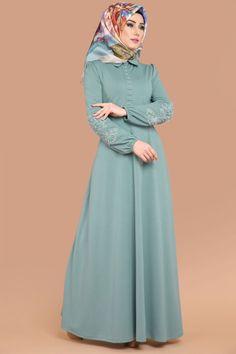 ** YENİ ÜRÜN ** Güpür İncili Tesettür Elbise Mint Ürün kodu: BİSS4214 --> 69.90 TL