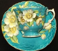 4:00 Tea...Aynsley...Dogwood teacup and saucer in turquoise blue by yvette