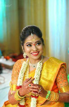Garland Wedding, Wedding Bells, Wedding Bride, Yellow Saree, Yellow Dress, South Indian Bride, Bridal Makeup, Beautiful Bride, Blouse Designs
