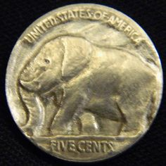 LOU ACKER HOBO NICKEL - ELEPHANT - BUFFALO NICKEL REVERSE CARVING Hobo Nickel, Paper Cutting, Buffalo, Coins, Elephant, Carving, Art, Art Background, Rooms