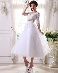 Half Sleeve Satin Organza Short Wedding Dress