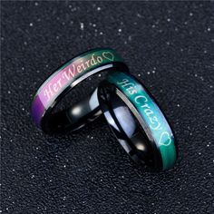His Crazy Her Weirdo Color Changing Titanium Couple Rings Jewelry Gift Sanwood Husband Valentine, Valentine Day Gifts, Valentines, Couple Rings, Promise Rings, Color Change, Anniversary Gifts, Wedding Engagement, Wedding Jewelry