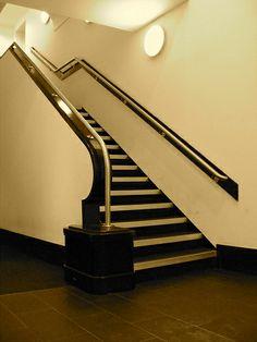 An art deco stair case in the Beresford, Glasgow